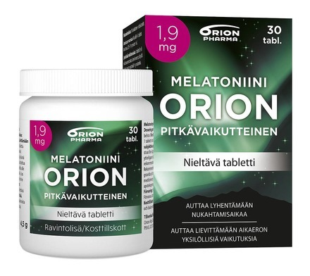 Melatoniini Orion 1 9 Mg 30 Tabl Pitkavaikutteinen Paketti Ja Purkki Vasemmalta WEB Srgb