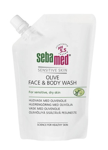 Sebamed Olive Face & Body Wash 400ml Täyttöpussi RGB