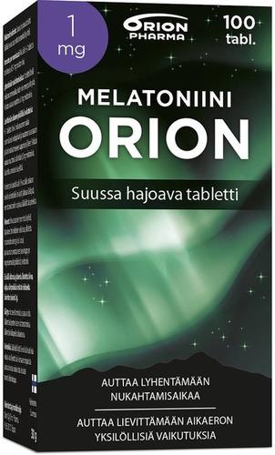 Melatoniini Orion 1 Mg 100 Tabl Suussa Hajoava Tabletti Paketti Vasemmalta WEB-1