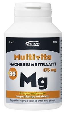 Multivita Magnesiumsitraatti 175 mg + B6 purutabl. greippi