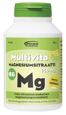 Multivita Magnesiumsitraatti+B6 lime-sitruuna 90 purutabl.