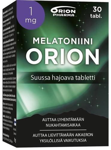 Melatoniini Orion 1 Mg 30 Tabl Suussa Hajoava Tabletti Paketti Vasemmalta WEB-1
