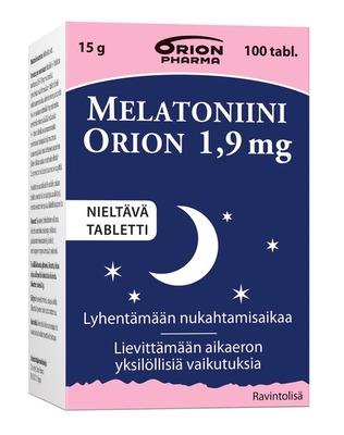 MelatoniiniOrion 1 9mg Nieltava 100tbl Paketti Vasemmalta WEB