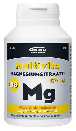 Multivita Magnesiumsitraatti+B6 175mg appelsiini 80 tabl. rgb