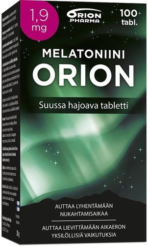 Melatoniini Orion 1 9 Mg 100 Tabl Suussa Hajoava Paketti Vasemmalta WEB