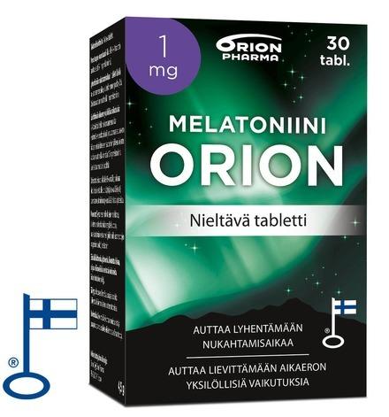 Melatoniini Orion 1mg 30 Tabl Nieltava Tab Paketti Vasemmalta RGB Flag