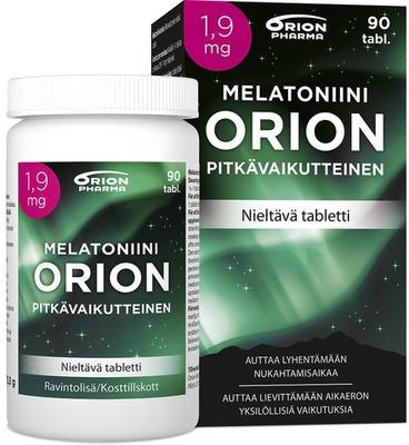 Melatoniini Orion 1 9 Mg 90 Tabl Pitkavaikutteinen Paketti Ja Purkki Vasemmalta WEB Srgb
