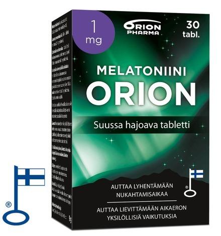 Melatoniini Orion 1mg 30 Tabl Suussahajoava Paketti Vasemmalta RGB Flag