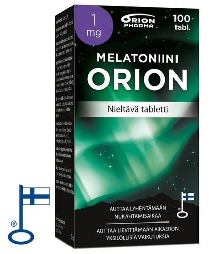 Melatoniini Orion 1mg 100 Tabl Nieltava Paketti Vasemmalta RGB Flag
