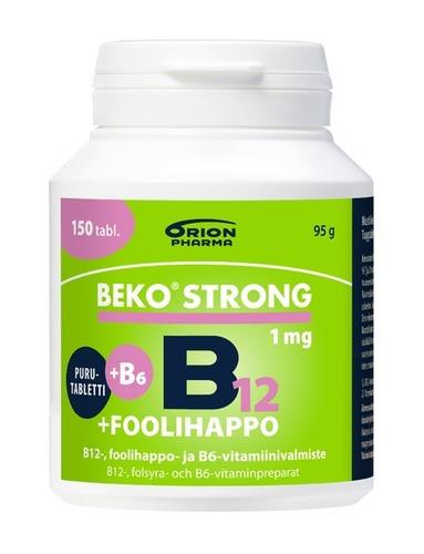 Beko Strong 1mg+foolihappo B12 Purutabletti 150tabl RGB